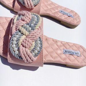 Shoes - 🆕Myra Blush Pink Vegan Pearl Slides Mules